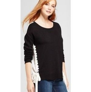 🖤SIDE LACE-UP COLORBLOCKED SWEATER